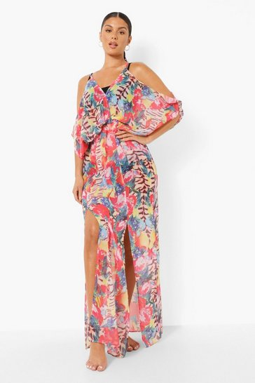 Red Tropical Animal Beach Dress