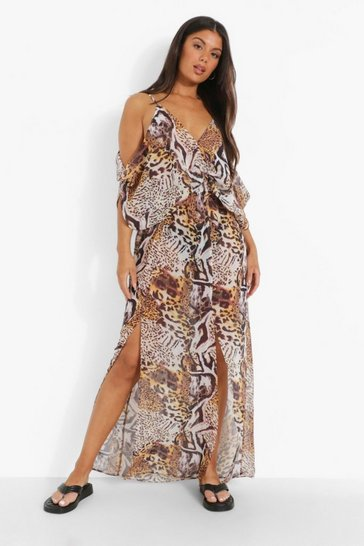 Brown Mixed Animal Beach Dress