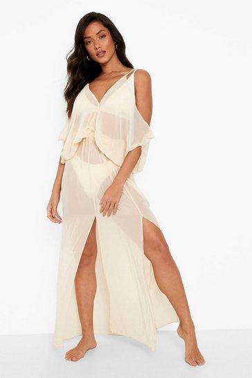 Sand beige Batwing Maxi Beach Dress