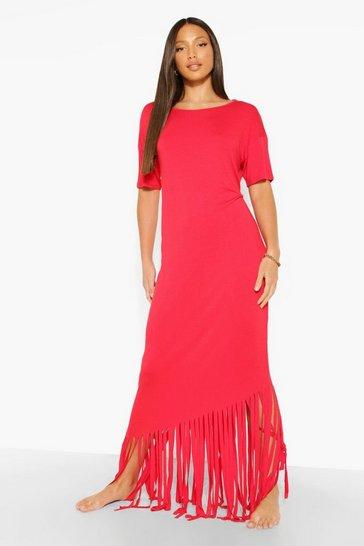 Red Tall Tassel Beach Maxi Dress