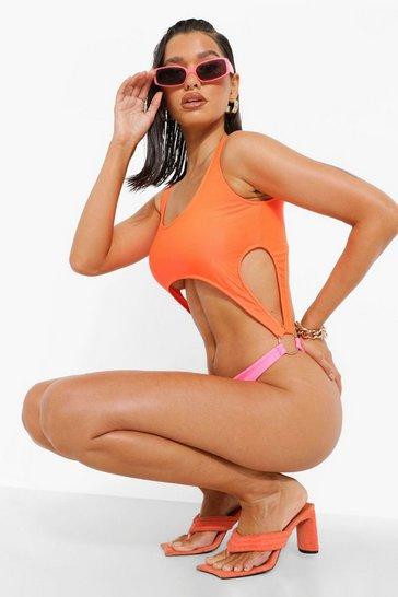 Neon-orange orange Cut Out Contrast Swimsuit