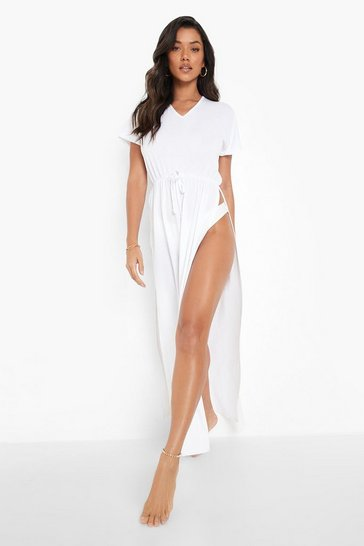 White Split Leg Tie Waist Maxi Beach Dress