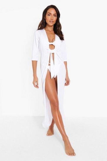 White Tie Front Beach Dress