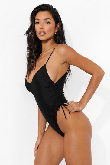 Black Ruched Side Swimsuit