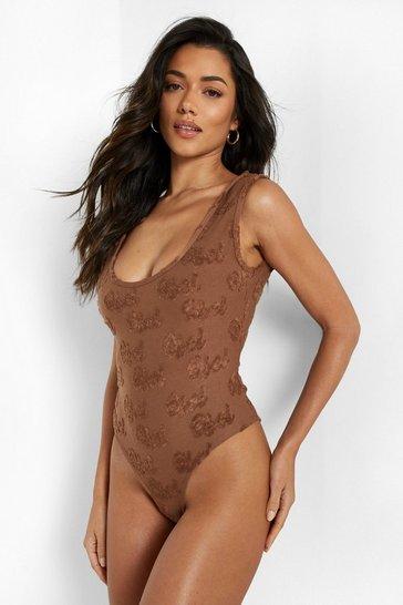 Chocolate brown Towelling Embossed Swimsuit
