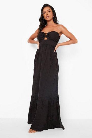 Black Cotton O-ring Detail Beach Maxi Dress