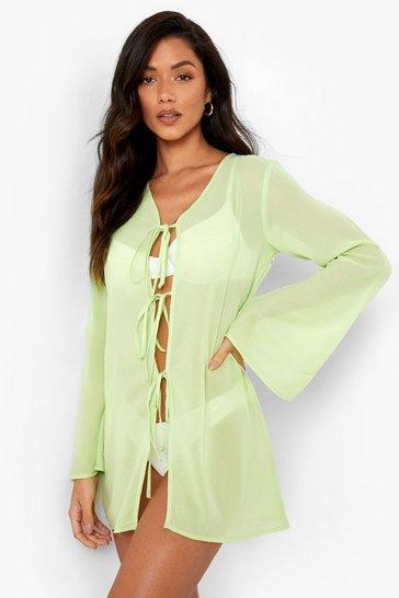 Lime green Chiffon Tie Front Shirt