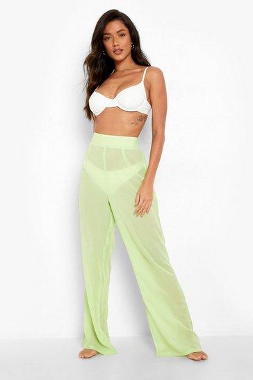Lime green Chiffon Beach Trouser