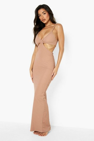 Chocolate brown Crinkle Knot Front Beach Maxi Dress