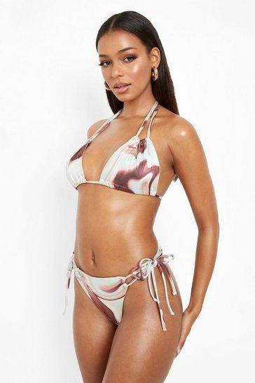 Brown Marble Print String Detail Bikini Brief