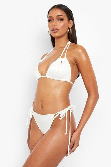 White String Detail Strappy Bikini Top