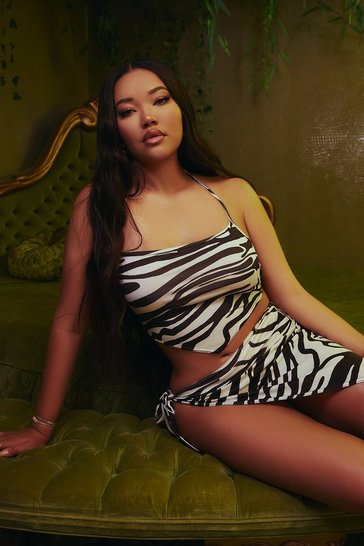 Beige Tiger Print Bandana Top & Asymmetric Skirt