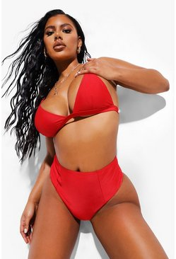 Red Essentials High Waist Bikini Brief
