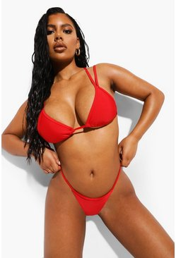 Red Essentials Double Strap Triangle Bikini Top