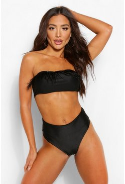 Black Feather Trim Bandeau Bikini