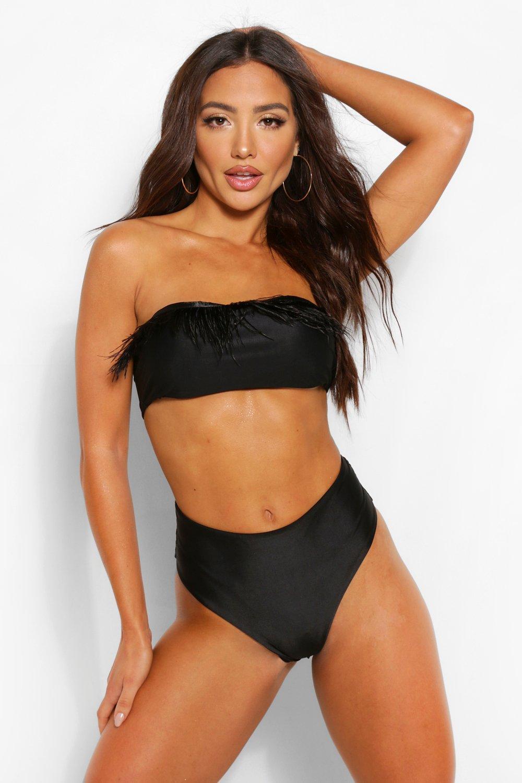 Swimwear Feather Trim Bandeau Bikini
