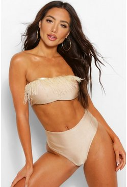 Champagne beige Feather Trim Bandeau Bikini