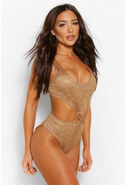 Gold Cheetah Print Ring Swimsuit