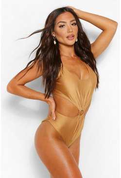 Gold Ring Front Swimsuit