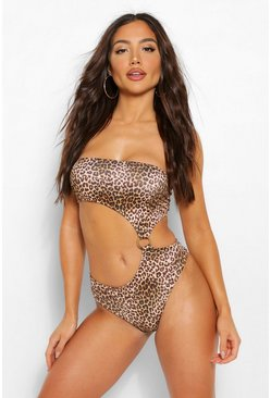 Leopard Ring Cut Out Swimsuits