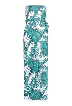 White Palm Print Bandeau Beach Dress