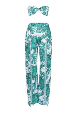White Palm Print Beach Trouser and Crop Co-ord