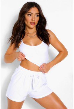 Ivory white Towelling Cami Beach Top
