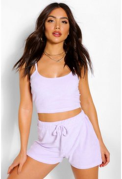 Lilac purple Towelling Cami Beach Top