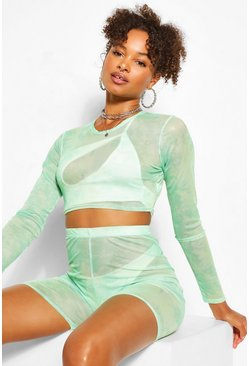 Mint green Tie Dye Mesh Crop Top