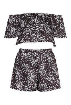 Black Ditsy Floral Bardot Short Beach Co-ord