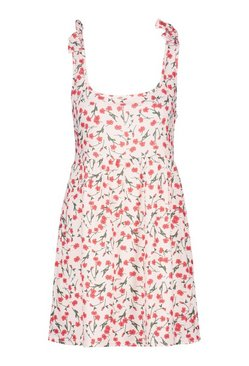 Nude Ditsy Floral Tie Shoulder Beach Smock Dress