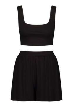 Black Jersey Crop And Short Beach Co-Ord
