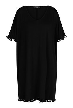 Black Pom Pom Trim Beach Cover Up