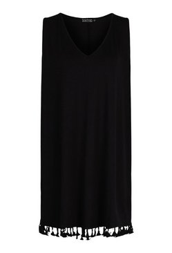 Black Tassle Hem Beach Dress