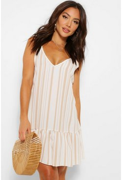 Ivory white Tonal Stripe Frilled Hem Linen Look Beach Dress