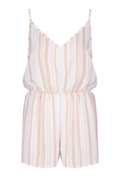 Ivory Tonal Stripe Linen Look Beach Playsuit