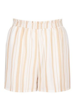 Ivory Tonal Stripe Shirred Linen Look Beach Shorts