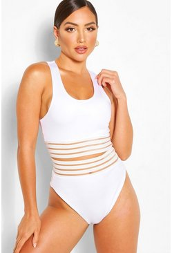 White High Leg High Waist Mesh Detail Bikini Brief