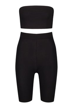 Black Bandeau & Cycling Short Beach Co-ord