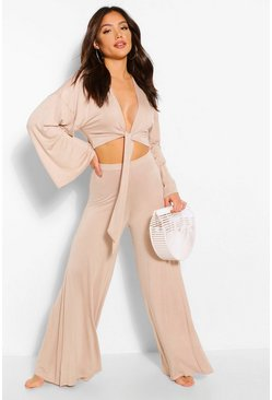 Olive green Floaty Wide Leg Beach Trousers