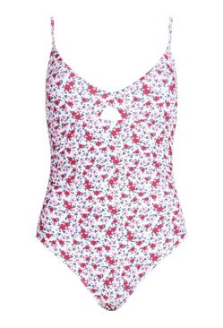White Neon Ditsy Floral Control Swimsuit