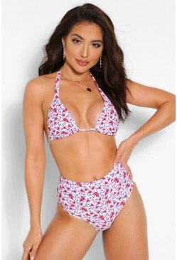 White Mix & Match Neon Ditsy Floral High Waist Brief