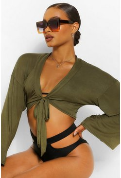 Olive green Tie Front Wide Sleeve Beach Top