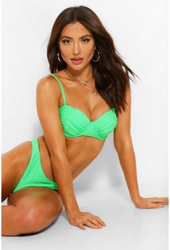 Green Ruched Cup Underwire Bikini Top