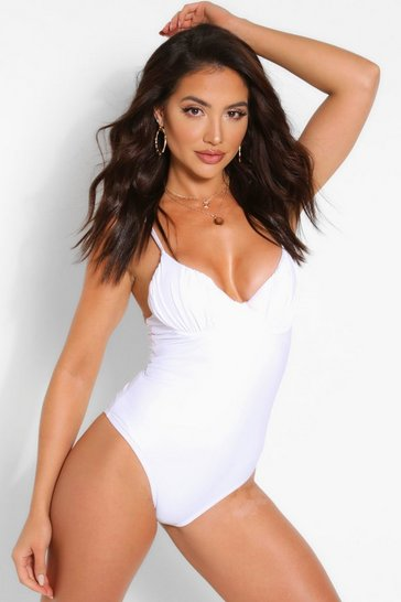 White Ruched Bust Underwire Swimsuit