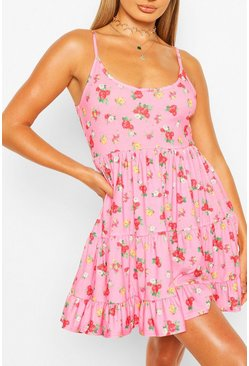 Pink Beach Ditsy Floral Swing Dress