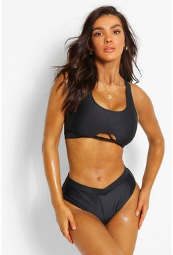 Black Mix & Match Fuller Bust High Waisted V Front Brief