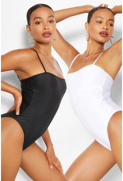 Black 2 Pack Square Neck High Leg Swimsuit