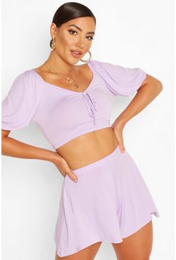 Puff Sleeve Top & Flippy Short Beach Co-ord , Lilac
