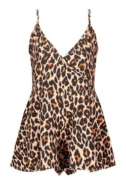 Brown Leopard Print Flippy Beach Playsuit